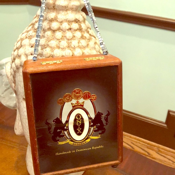 Handbags - Cigar Leopard Wood Black Beaded Onyx Purse Bag!